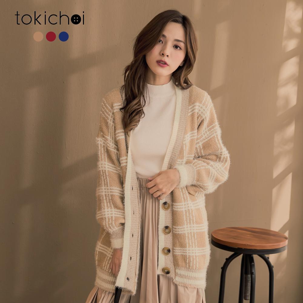 東京著衣 亮色英倫風格紋慵懶V領毛衣寬鬆外套(共三色)