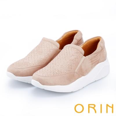 ORIN 時尚渡假風 閃閃燙鑽厚底休閒便鞋-粉紅