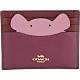 COACH Mouse 可愛老鼠造型粉紫撞色牛皮名片夾 product thumbnail 1