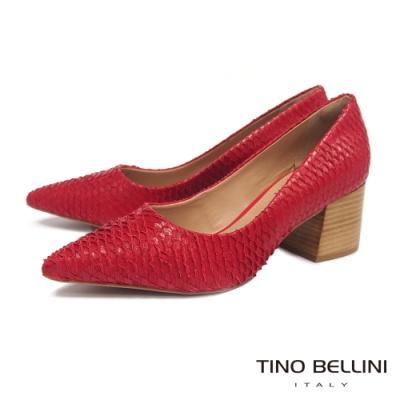 Tino Bellini 巴西進口立體觸感牛皮高跟鞋 _紅