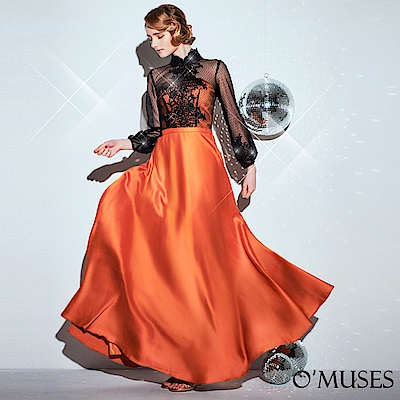 OMUSES 重工蕾絲刺繡旗袍長禮服