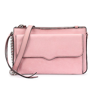 Rebecca Minkoff BREE 麂皮側鉚釘綴飾前口袋斜側背包-粉紅色