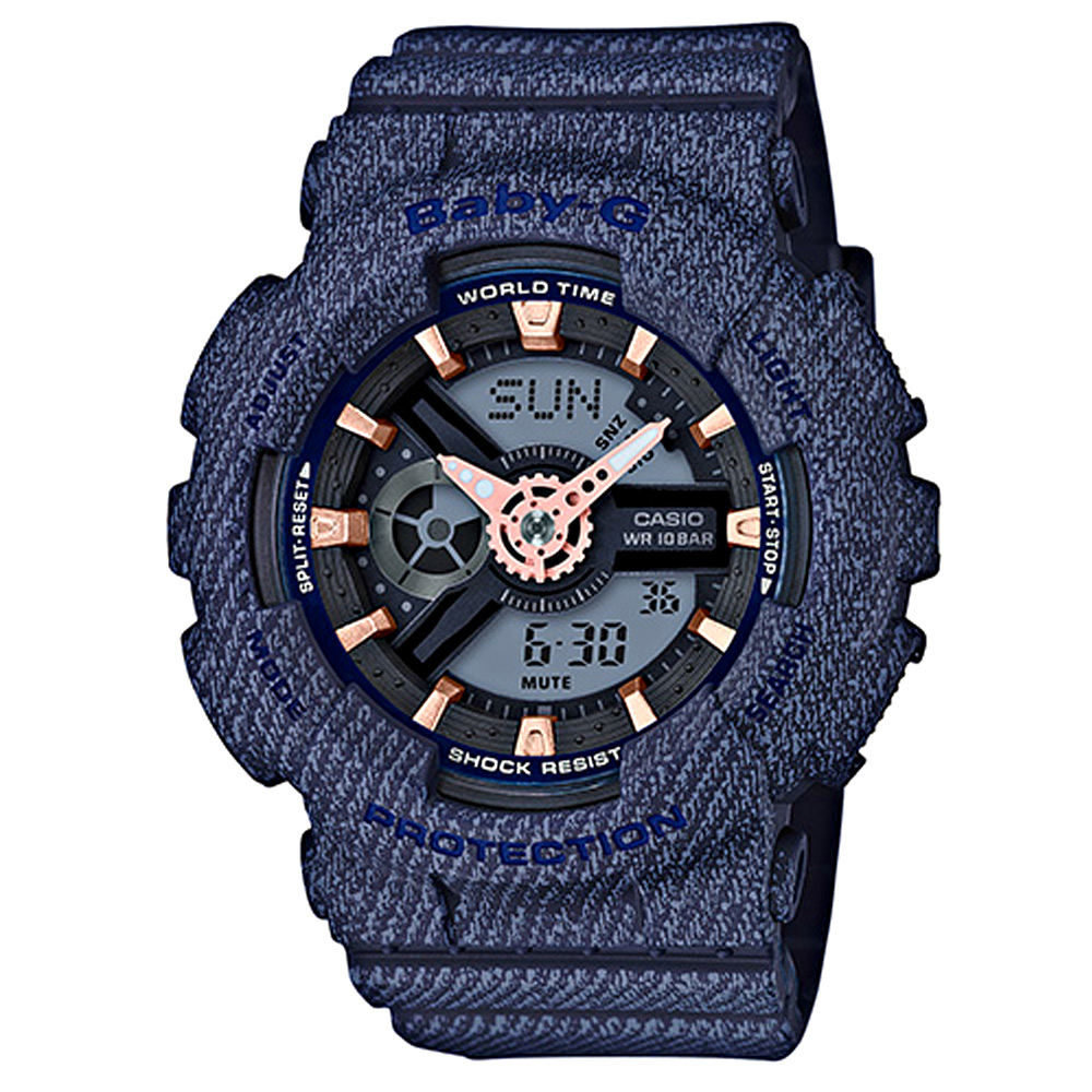 BABY-G 熱銷款丹寧布料元素設計休閒錶( BA-110DE-2A1)深藍/43.3mm