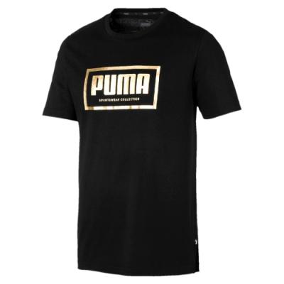 PUMA-男性基本系列Holiday短袖T恤-黑色-歐規