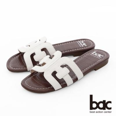 【bac】繽紛曼谷 -壓紋一片式鏤空繽紛色調平底拖鞋-白色
