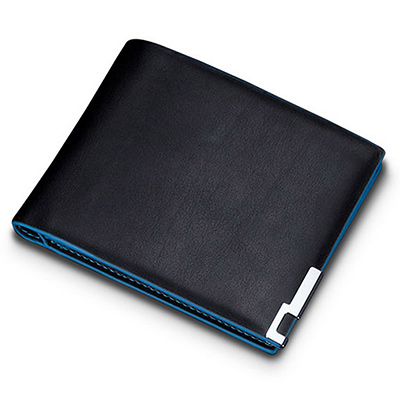AmaZing 藍色邊框金屬夾角簡約薄型短夾 (2款任選)