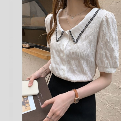 2F韓衣-簡約氣質襯衫領造型雪紡上衣-2色-(M~2XL)