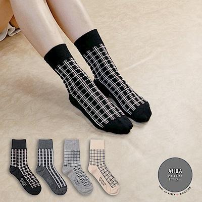 阿華有事嗎韓國襪子中性格紋中筒襪韓妞必備長襪正韓百搭純棉襪