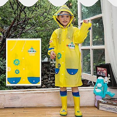 半島良品 可愛機器人帶反光條兒童雨衣-黃色M