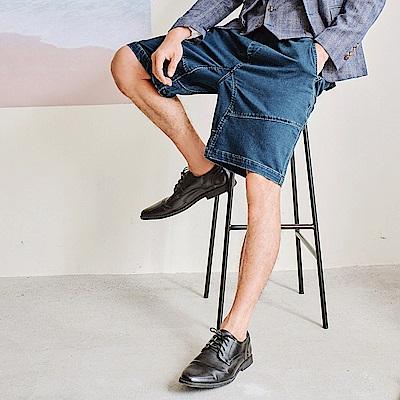 高含棉水洗牛仔設計剪裁休閒短褲-OB嚴選