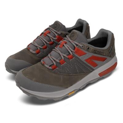 Merrell 戶外鞋 Zion GTX 運動休閒 男款 登山 越野 耐磨 黃金大底 防潑水 灰 紅 ML033893
