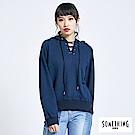 SOMETHING 青春高校 運動風穿繩連帽T恤-女-灰藍色