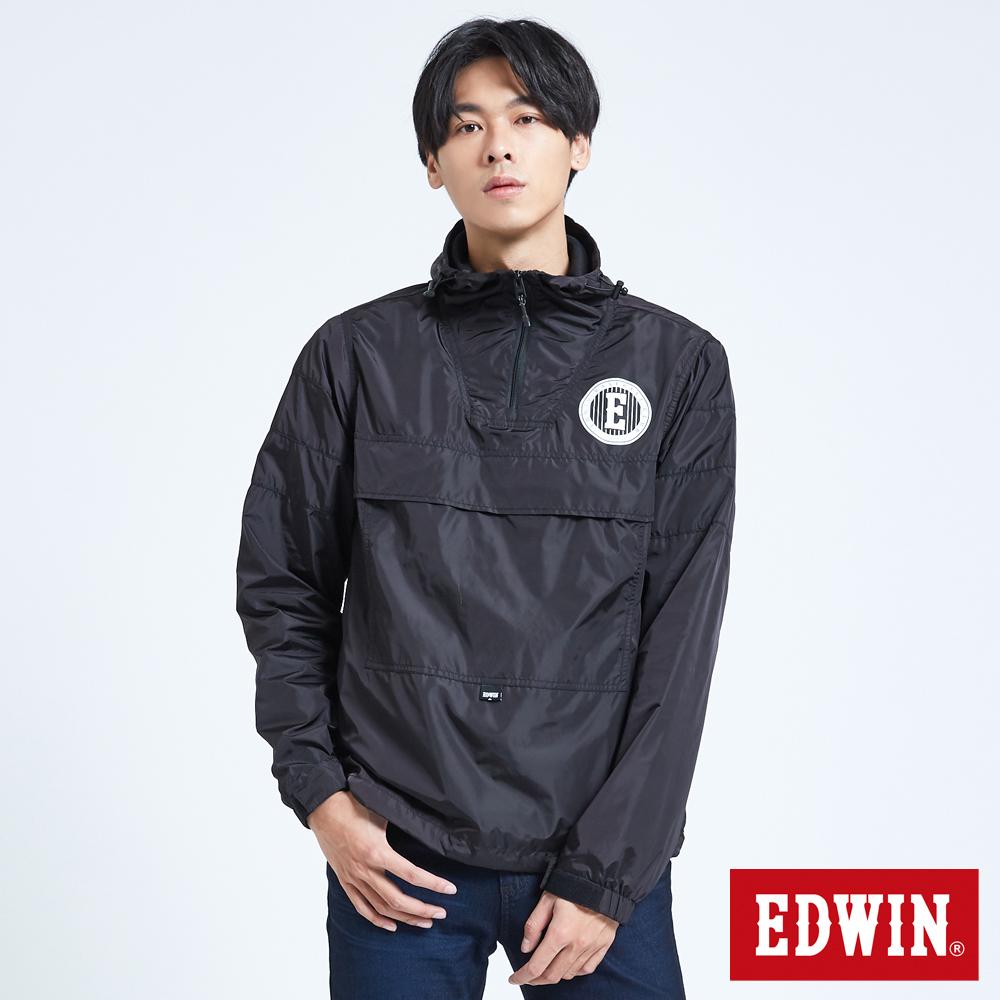EDWIN 復古運動 套頭風衣外套-男-黑色