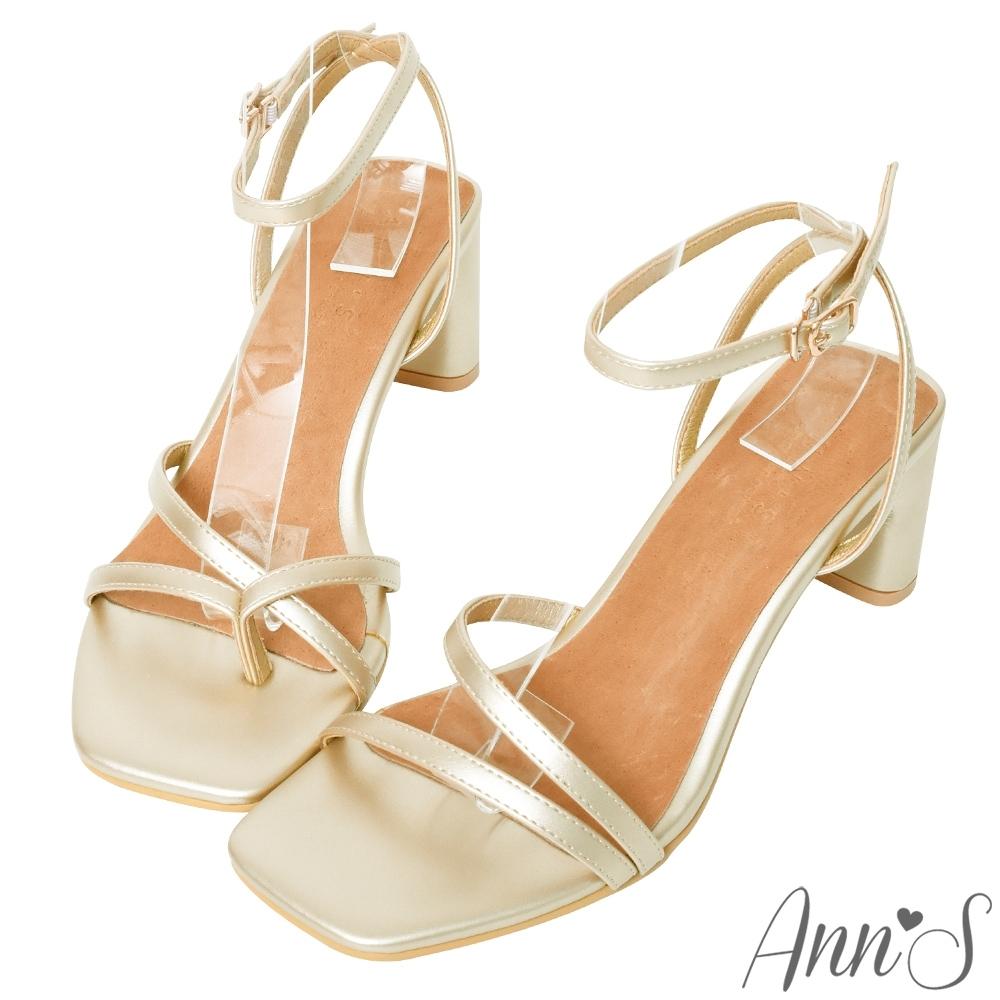 Ann'S一雙不對稱設計的方頭粗跟涼鞋-金(版型偏小)