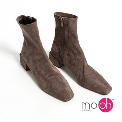 mo.oh麂皮絨面短靴拉鍊粗跟彈力靴咖啡色
