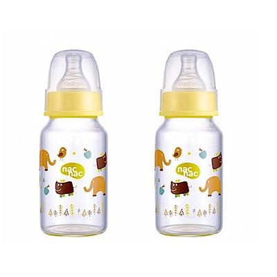 【麗嬰房】nac nac 好朋友系列(ZOO)-吸吮力學標準輕量耐熱玻璃奶瓶 120ml (2入組)