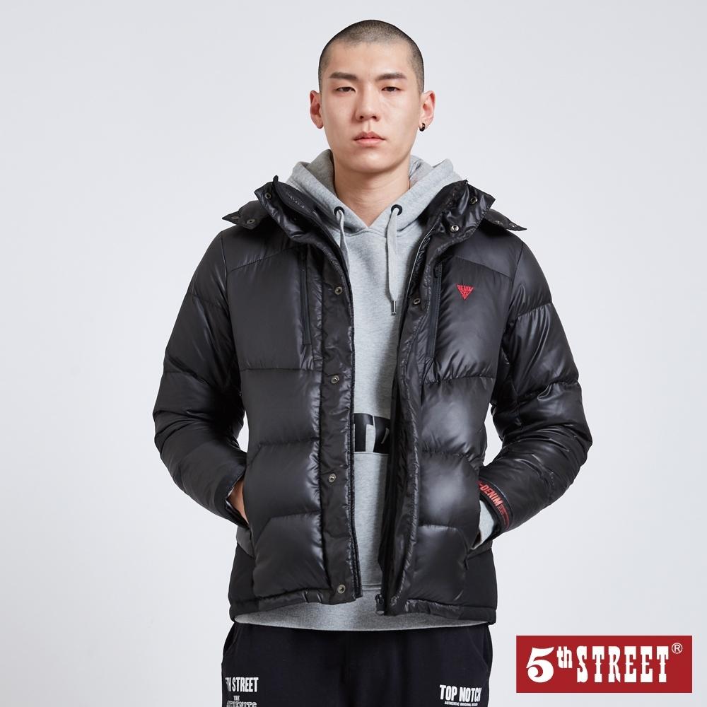 5th STREET 光澤感異材剪接 羽絨外套-男-黑色