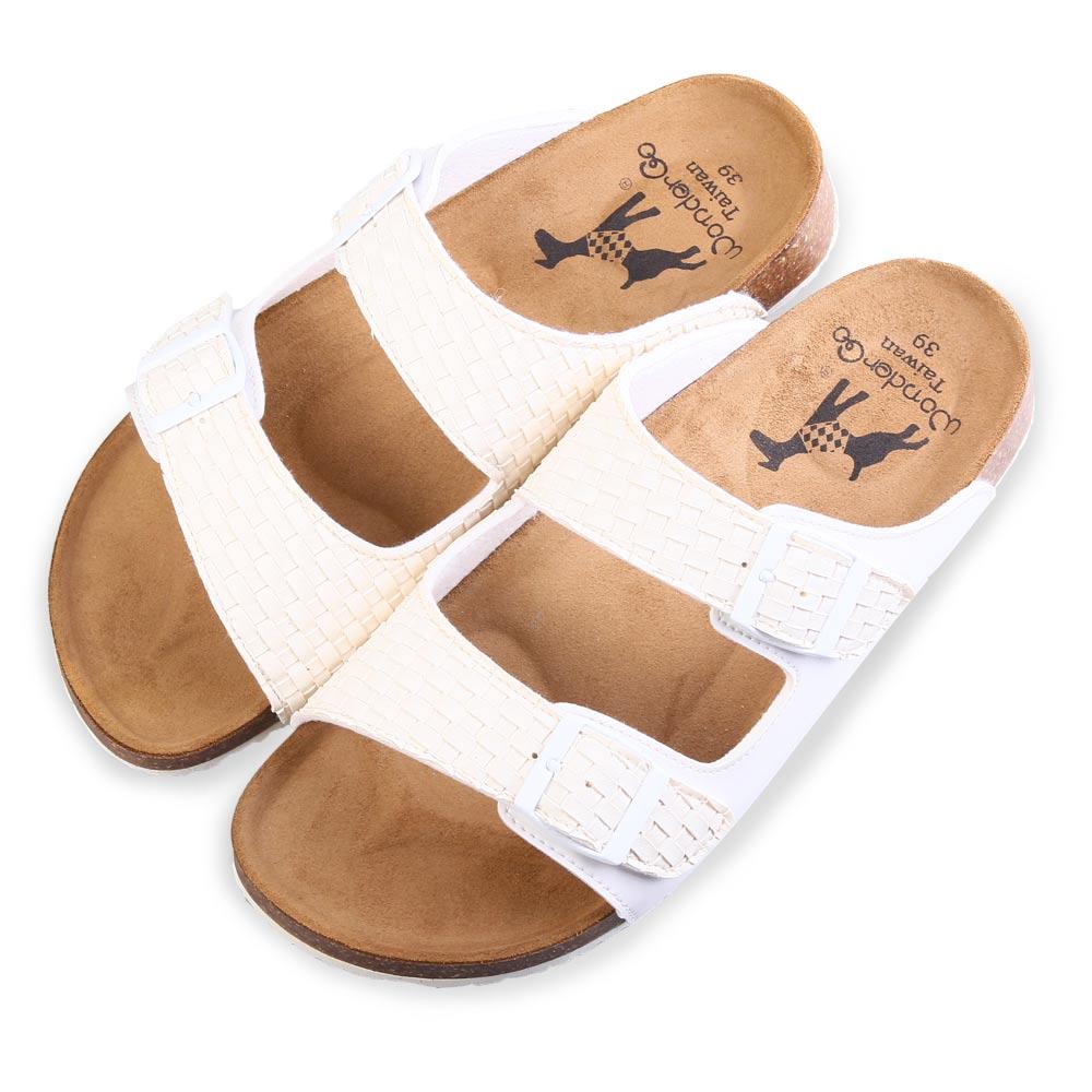TTSNAP涼拖鞋-MIT編織寬版休閒涼拖鞋 白
