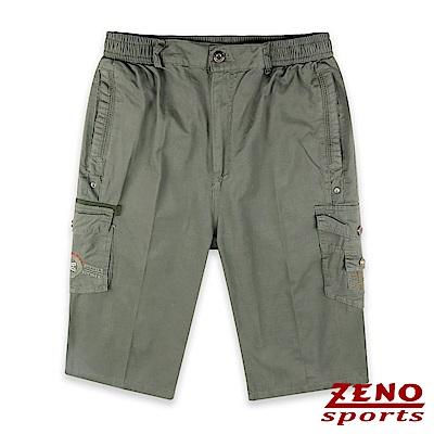 ZENO 鬆緊多袋美式七分短褲‧卡其綠