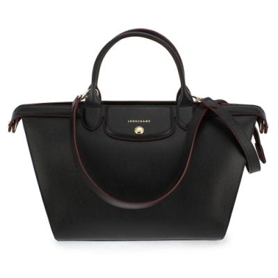 Longchamp Le Pliage Heritage 法式典雅兩用水餃包-黑色/大