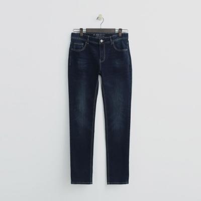 Hang Ten - 男裝 -簡約刷色素面牛仔褲 - 藍