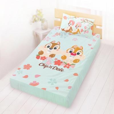 享夢城堡 單人床包枕套3.5x6.2二件組-奇奇蒂蒂 迪士尼櫻花季-藍綠