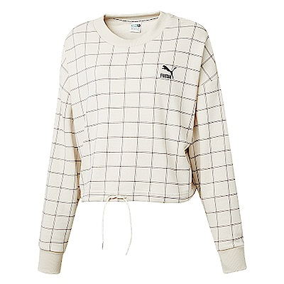 PUMA-女性流行系列PUMA織帶圓領衫-樺白-歐規