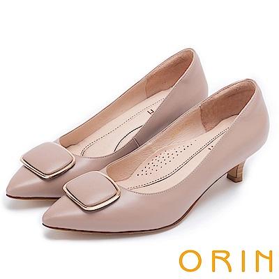 ORIN 典雅氣質 牛皮金屬方型飾釦尖頭高跟鞋-可可