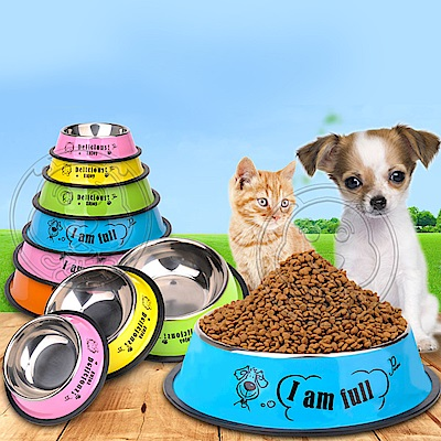 dyy》寵物不銹鋼卡通防滑耐摔貓狗碗-1號直徑10.5cm(顏色隨機出貨)