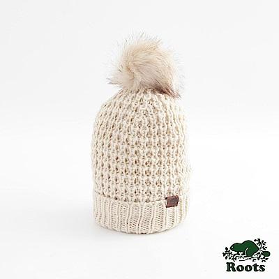 Roots配件-奧莉維亞毛球針織帽 -白色