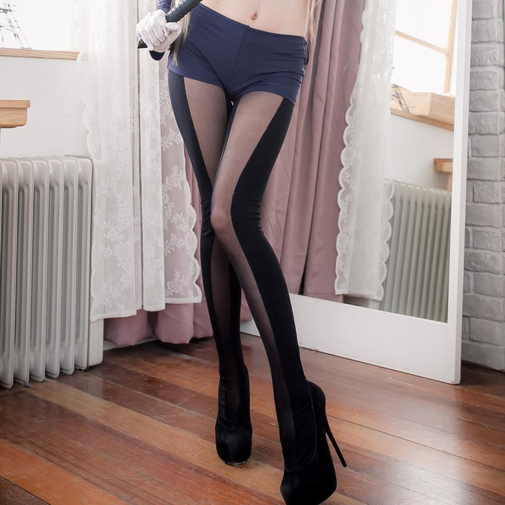 連身褲襪 台灣製大直紋深淺純黑立體長腿襪美腿絲襪 流行E線