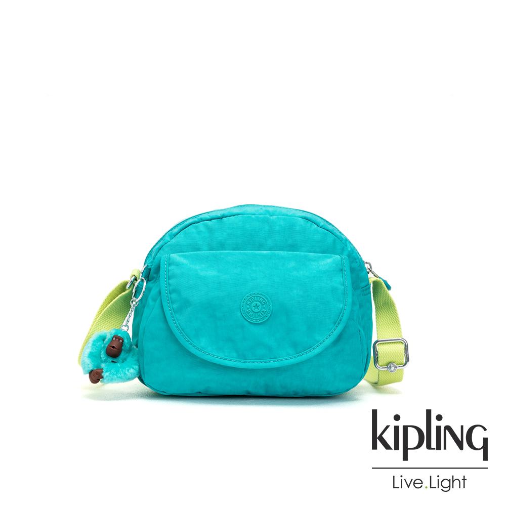 Kipling 糖果色調藍綠色翻蓋側背小包-STELMA