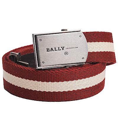 BALLY CARSON 紅白織紋復古品牌LOGO圖騰方皮帶頭設計皮帶(紅/白色)