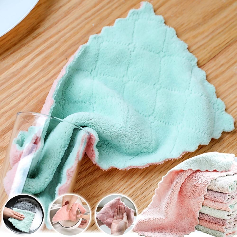 (買10送10)EZlife加大雙層超細纖維吸水抹布 (共20條)再贈洗碗手套X1