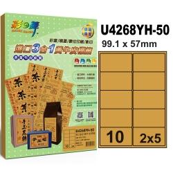 彩之舞 進口3合1黃牛皮標籤 10格圓角 U4268YH-50*2包