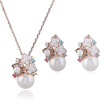 RJ New York珍珠花語純靜潔白項鍊耳環組2件套組