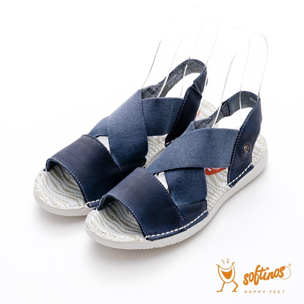 SOFTINOS (女) 愛的包圍  牛皮鬆緊雙料大交叉涼鞋 - 安全感藍