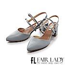 Fair Lady 優雅小姐Miss Elegant 性感細帶尖頭粗跟涼鞋 藍