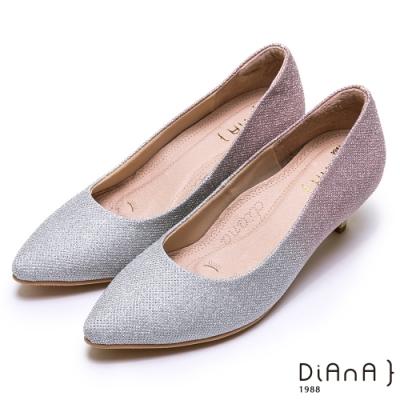 DIANA璀燦漸層鑽石紋金屬低跟鞋(婚鞋推薦)-漫步雲端厚切焦糖美人-銀粉