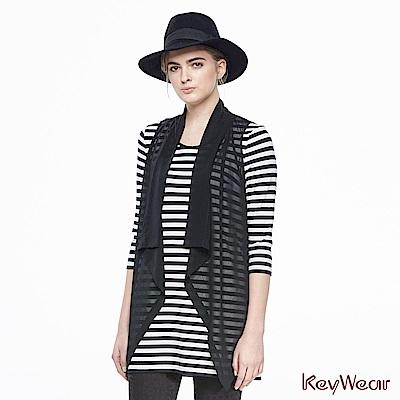 KeyWear奇威名品    條紋假兩件拼接雪紡造型修身七分袖上衣-黑色