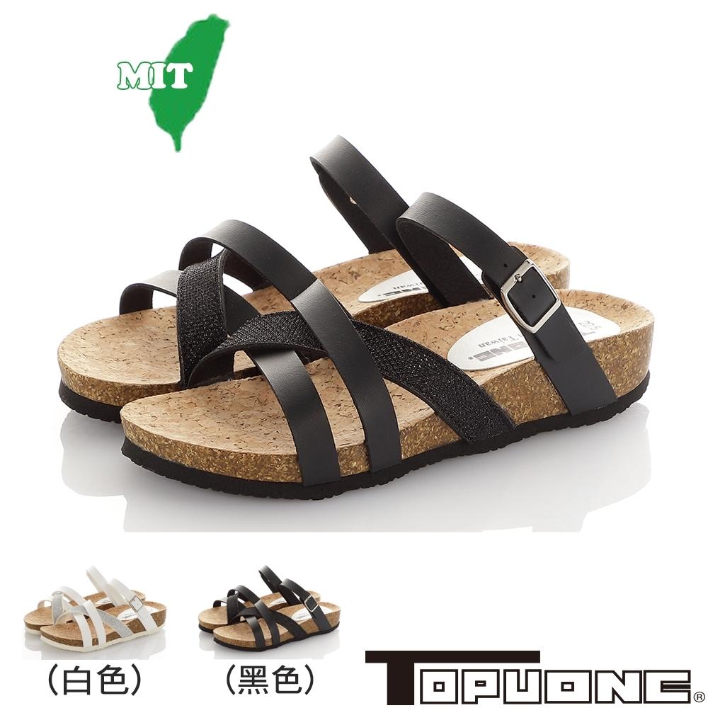 (雙11)TOPUONE女鞋 輕量減壓吸震腳床型涼鞋-黑.白