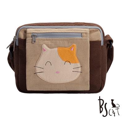 ABS貝斯貓 可愛貓咪拼布 肩背包 斜背包 (咖啡) 88-193