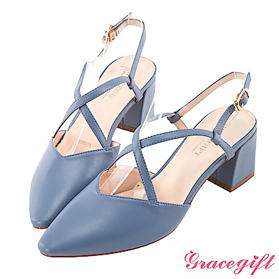 Grace gift-交叉繫帶後空跟鞋 藍