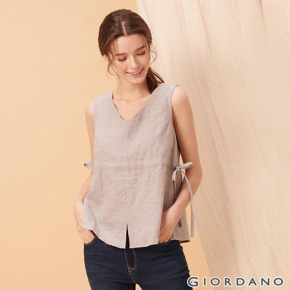 GIORDANO 女裝自然棉麻系列無袖收腰綁帶上衣-02 淺灰