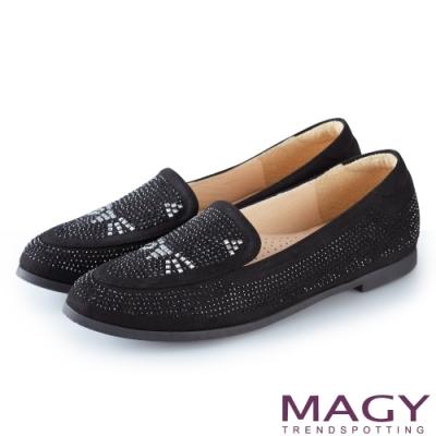 MAGY 樂活俏皮 趣味貓咪燙鑽平底樂福鞋-黑色