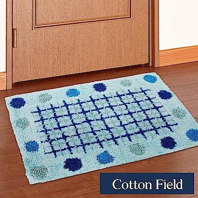 棉花田 點點-藍 純棉提花踏墊(40x60cm)
