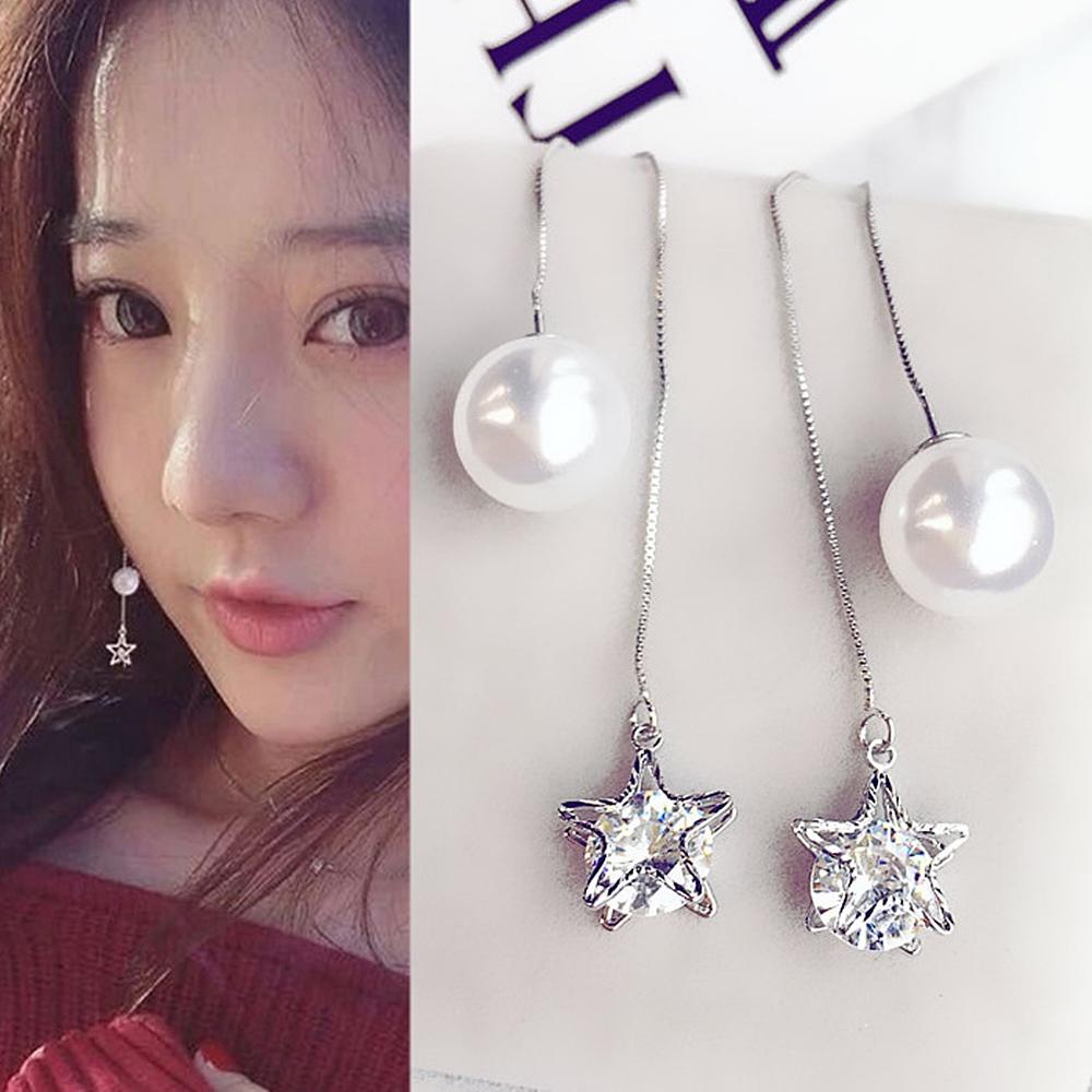 梨花HaNA 韓國925銀夜星光年珍珠耳線耳環