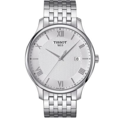 TISSOT TRADITION 古典風格大三針時尚錶(T0636101103800)42mm