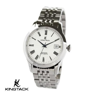 KINGTAGK 羅馬星辰簡約中性機械錶38mm銀白