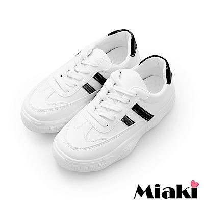 Miaki-休閒鞋.韓風學院厚底運動鞋-白
